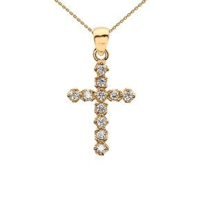 14k Solid Gold Diamond Cross Pendant Necklace